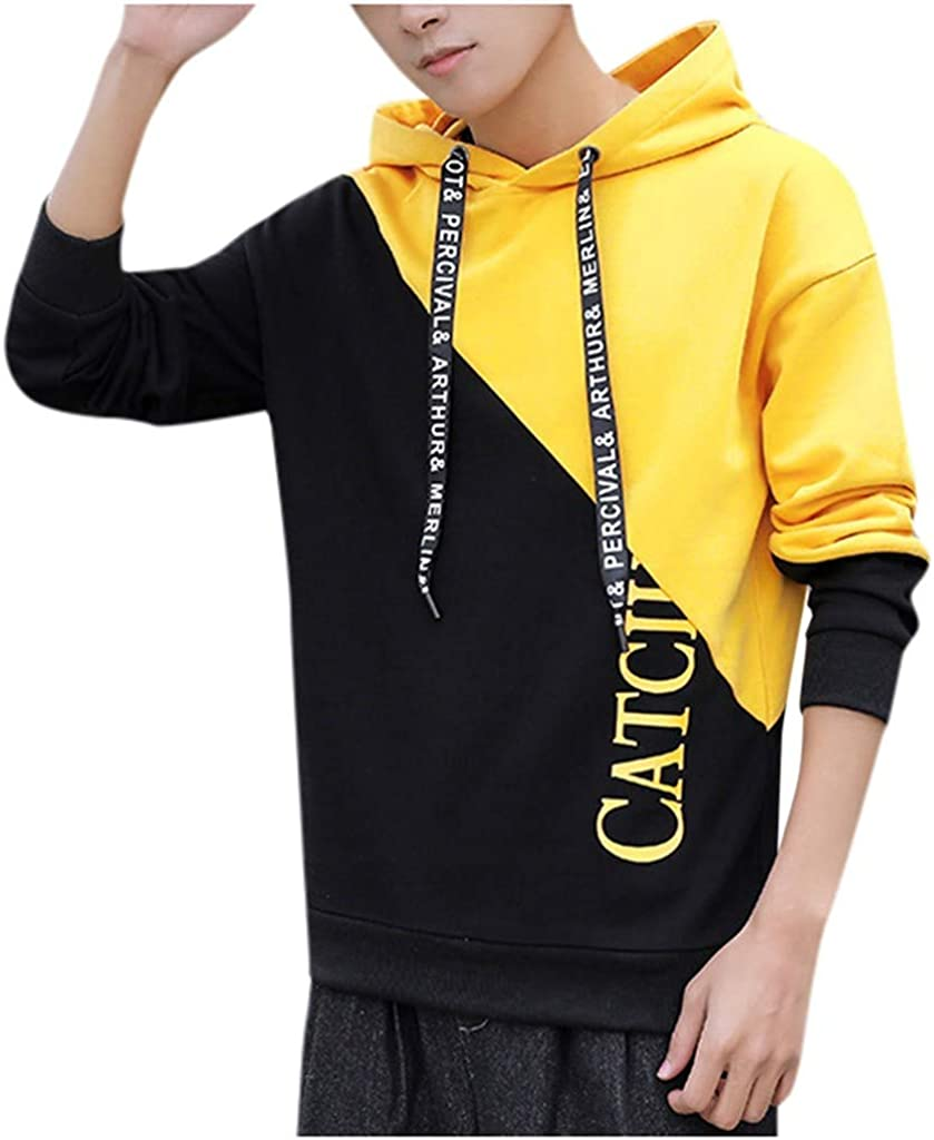 DIOMOR Mens Fashion Color Block Hooded Tops Pullover Letter Print Drawstring Hoodie Outdoor Sweatshirt Outerwear