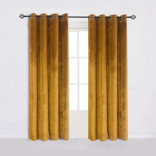 Cherry Home Super Soft Luxury Velvet Set of 2 Warm Yellow Blackout Velvet Energy Efficient Grommet Curtain Panel Drapes Ginger 52Wx63L(2 Panels) with Matching Tiebacks