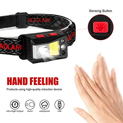 Rechargeable LED Headlamp Flashlight Kit USB Type-C Motion Sensor 9 Modes COB Headlight 2000 Lumen Red/Blue/Green Head Light IPX4 Waterproof Magnet and Build-in Batteries for Camping Outdoor(2 Pack)