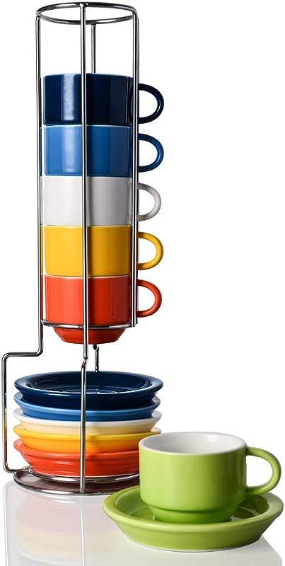 Sweejar Porcelain Espresso Cup Saucer Set Stackable Demitasse Cups With Metal Stand 2 5 OZ For Latte Coffee Cafe Mocha Tea Set Of 6