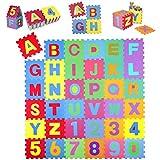 KIDUKU 86 teilige Puzzlematte Kinderspielteppich Spielmatte Spielteppich Schaumstoffmatte Kinderteppich, Zahlen und Buchstaben, Maß je Matte ca. 31,5 x 31,5 cm