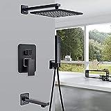 Grifo de baño Ducha de lluvia de bronce negro Grifo de baño Montado en la pared Bañera Mezclador de ducha Grifo de ducha de baño Juego de ducha Juego de ducha de 10 pulgadas