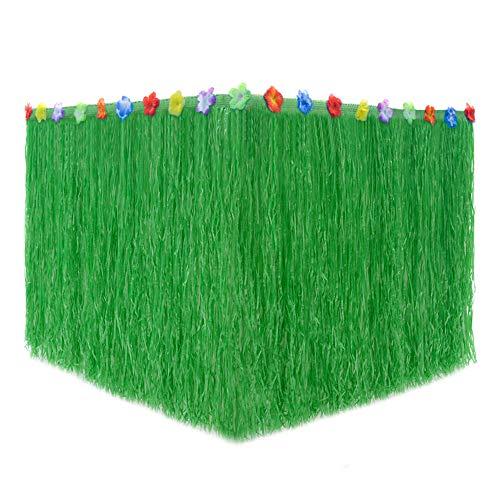 JUNGEN Falda de Mesa Luau Hawaiano Falda de Mesa de plástico Hibiscus Grass con Pequeñas Flores de Colores para Decoración de Fiesta Festival Fiesta cumpleaños Barbacoa Playa Jardin Verde 1