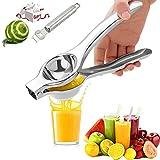 Exprimidor Limon, Exprimidor Manual de Limón Exprimidor Manual de Acero Inoxidable Exprimidor de Mano de Cítricos Prensa de Mano Jugo de Clip Fruta Naranjas ect, Incluye rascador de limón