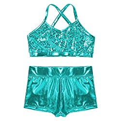 Lake-Blue 2-Piece Active Sequin Top and Booty Short
