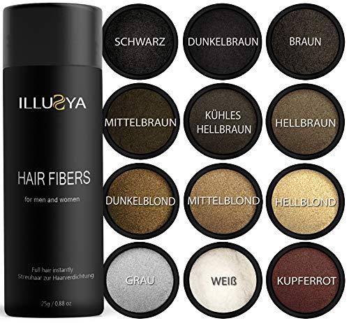 ILLUSYA® Streuhaar - Schütthaar - Hair Fibers zur Haarverdichtung. Premiummarke. Volles Haar in Sekunden (12. KUPFERROT)