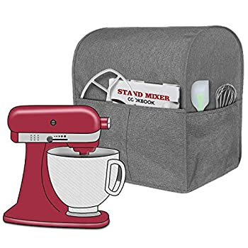 Homai Stand Mixer Cover Compatible with Tilt Head 4.5-5 Quart KitchenAid Mixer Cloth Dust Cover with Pocket for Extra Attachments  Gray