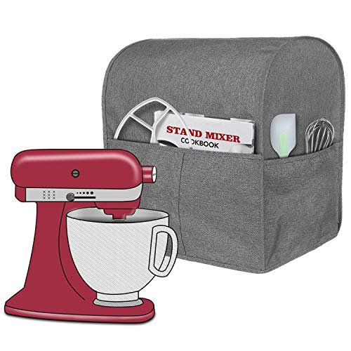 Homai Stand Mixer Cover Compatible with Tilt Head 4.5-5 Quart KitchenAid Mixer, Cloth Dust Cover with Pocket for Extra Attachments (Gray)