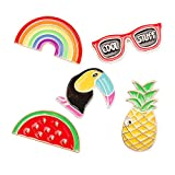 FLYPARTY 5 Pcs Cute Enamel Lapel Pins Set Cartoon Animal Plant Fruits Foods Brooches Pin Badges for Clothing Bags Backpacks Jackets Hat DIY (Rainbow Glasses Pineapple Crow)