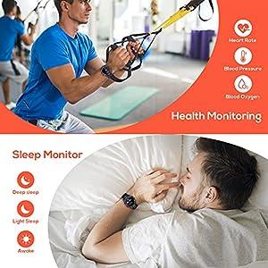 CatShin Smartwatch Hombre Mujer Reloj Inteligente con Pulsómetro, Presión Arterial, Podómetro Pulsera Actividad Impermeable IP68 Relojs Inteligentes para Android iOS y Huawei iPhone Smartphone Negro