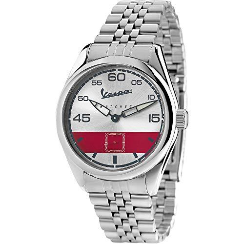 Vespa Watches Orologio da Polso da Uomo Analogico con Movimento al Quarzo Quadrante Argento e Cinturino In Acciaio