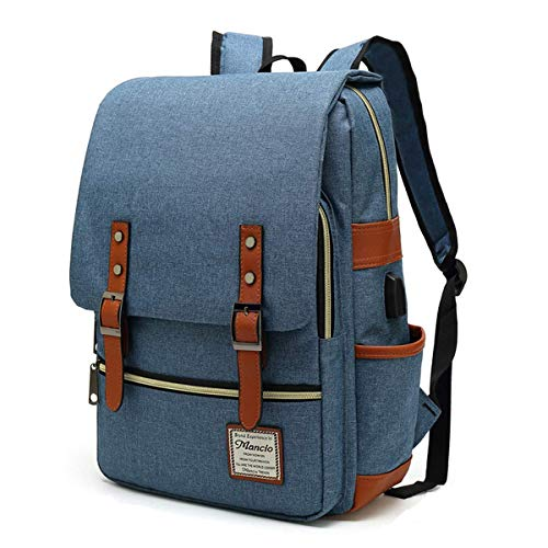 MANCIO Schlanker Laptop-Rucksack für Damen, Mann mit USB-Ladeanschluss für Reisen, Uni, Schule Passend für MacBook bis zu 39,6 cm (15,6 Zoll) in Blau