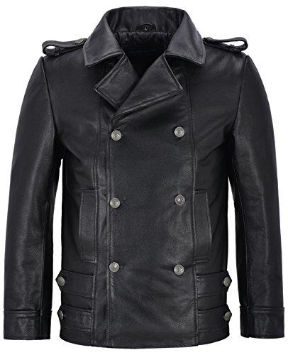 Cappotto di Pelle Tedesco da Uomo Nero Classic WW2 con Borchie Punk Rock 100% Vacchetta 8971 (M)