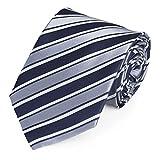 Fabio Farini Moderne Krawatte 8 cm in verschiedenen Farben, Grau-Blau-Weiß gestreift