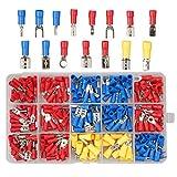 Conjunto de conectores eléctricos con aislamiento, herramienta de engarzado, terminales de cable aislados, kit surtido de terminales de crimpado de pala de anillo