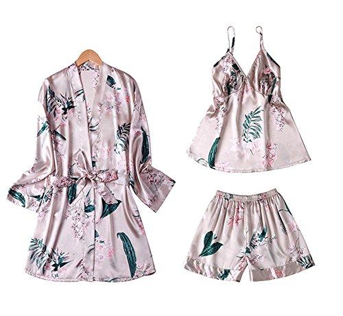 Dragon Troops Traje de Tres Piezas para Mujer de Pijamas de Verano, Kimono de Estilo japonés, T1