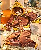 Pijama de Terciopelo Coral para Mujer más Terciopelo Grueso y cálido Modelos de otoño e Invierno Servicio a Domicilio de Manga Larga,F3,XXL