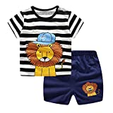 Hopscotch Boys Cotton Lion Applique Half Sleeve T-Shirt and Short in Black Color