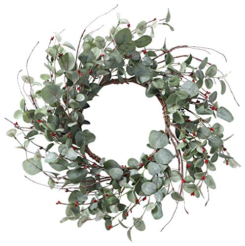 YNYLCHMX Artificial Christmas Wreath for Front Door, Door Wreath Flushed with Eucalyptus Leaves with Berry, Home Decor for Indoor, Windows, Wall, Fireplace, Holiday, Party Decoration, 20 Inch