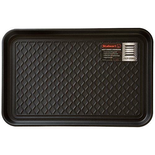 Stalwart 75-ST6014 All Weather Boot Tray-Water Resistant Plastic Utility Shoe Mat for Indoor and Outdoor Use in All Seasons (Black), Medium