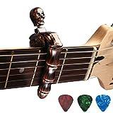 Asmuse Capo Guitare Electrique Classique Acoustique Capo Unique de Crâne en Alliage de Zinc de Haute Qualité avec 3 Plectres pour Basse Guitare Folk Banjo Ukulélé Mandolin Bronze