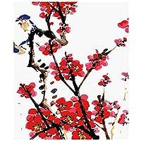 大人のためのナンバーキットによる絵画 DIYキャンバス油絵キット ペイントブラシを使った子供向け初心者向けアクリル顔料描画ペイントワーク16x20インチフレームなし-梅の花