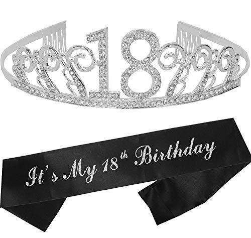 18th Birthday Gifts for Girl, 18th Birthday Tiara and Sash Silver, Happy 18th Birthday Party Supplies, 18 & Fabulous Glitter Satin Sash and Tiara Birthday Crown for 18th Birthday Party Supply