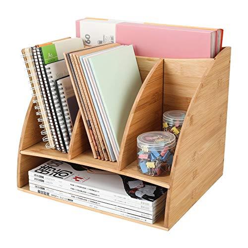 TQVAI Bamboo Desktop File Rack Holder 3 Tier Vertical Workspace Supplies Storage Organizer Original