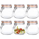 Kingrol 6 Pack 25 Ounces Square Glass Jars with Airtight Lid, Wide Mouth Preserving Jar for kitchen,...