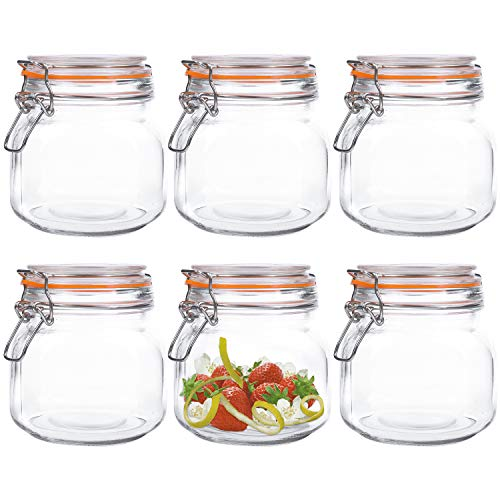 Kingrol 6 Pack 25 Ounces SquareGlass Jars with Airtight Lid,Wide Mouth Preserving Jarfor kitchen, food storage