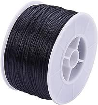 PH PandaHall 1 Roll 1mm x 100yards Black Rattail Satin Nylon Trim Cord Chinese Knot for Necklace Bracelet Beading Thread