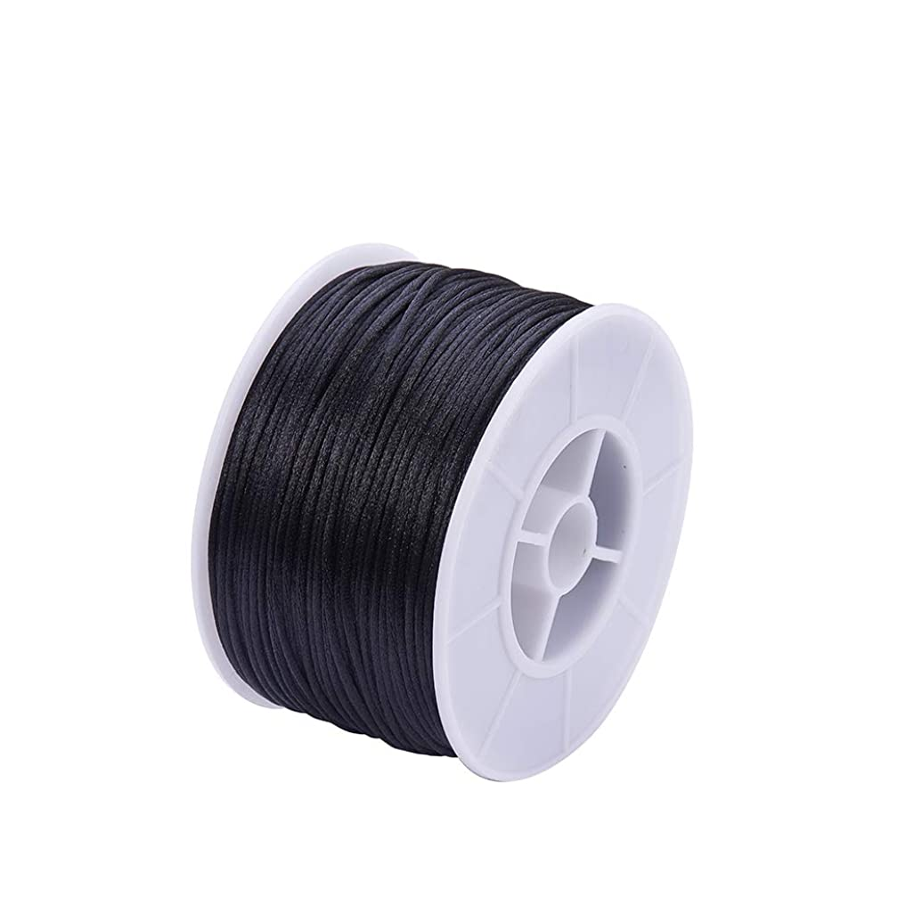 PH PandaHall 1 Roll 1mm x 100yards Black Rattail Satin Nylon Trim Cord Chinese Knot for Necklace Bracelet Beading Thread