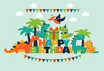 Amazon Com Yeele 5x3ft Baby Dinosaur Birthday Backdrop For Photography Cartoon Dinosaur Theme Photo Background Party Decoration Kids Newborn Photo Booth Shoot Vinyl Studio Props Camera Photo