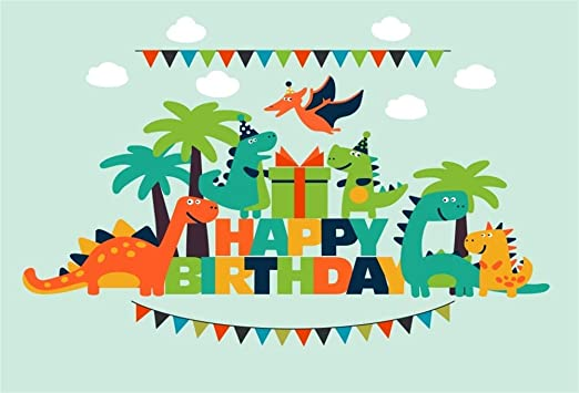 7x5ft Black and White Stripes Backdrops Dinosaur Theme Baby Birthday Party Photography Backdrop Photo Props Banner LYFU157
