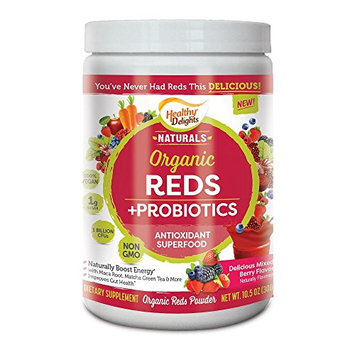 Healthy Delights Naturals - Organic Reds + Probiotics Powder - Antioxidant Superfood - Naturally Boost Energy - Non-GMO - Delicious Mixed Berry Flavor - 30 Servings