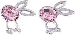Alilang Womens Swarovski Crystal Element Silver Tone Pink Bunny Rabbit Girl Bow Stud Earrings