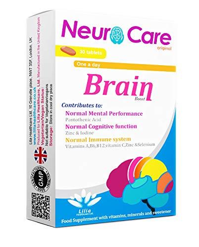 Neuro Care origineel |Compleet Brain Boost-supplement voor normale mentale prestaties,focus verbeteren| Immuniteit Ondersteuning Multivitamine |30 tabletten met chocoladesmaak | 1 maand voorraad