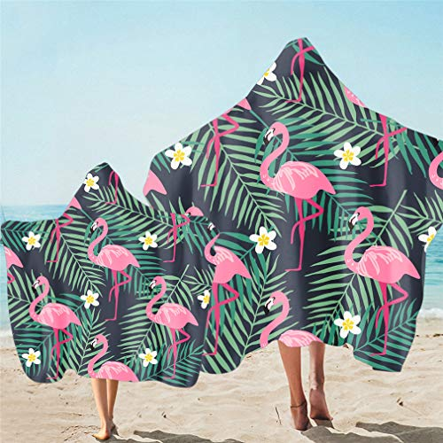 Toalla de Playa con Capucha para Familias Padre-hijo Impresión 3D Flamingo Toucan Parrot Microfibra Cambiar Albornoz Poncho Toalla de Surf Nadar Viajar Delgado Manta (Multi 7,Niño 130X150cm)