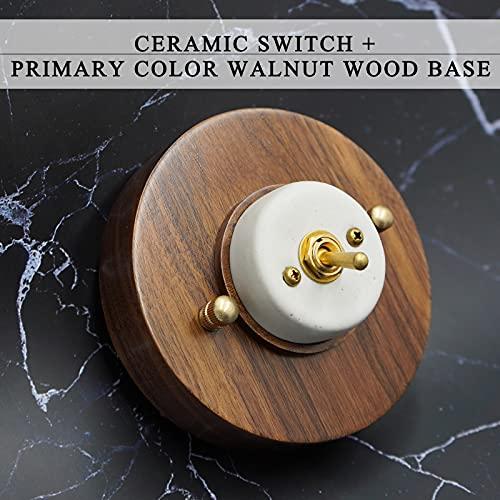 Interruptor de pared Interruptor de pared Interruptor retro Vintage interruptor Ceram Ceram 220V 1gang 2gang 3gang Light Light Switch para sala de estar (Color : Marrón, Voltage : 110V 240V)