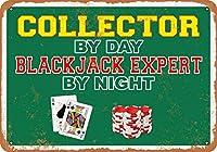 2個 20 * 30 CMメタルサイン-昼はコレクター、夜はブラックジャックエキスパート メタルプレート レトロ アメリカン ブリキ 看板