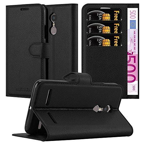 Cadorabo Hülle für Lenovo K6 / K6 Power in Phantom SCHWARZ - Handyhülle mit Magnetverschluss, Standfunktion und Kartenfach - Case Cover Schutzhülle Etui Tasche Book Klapp Style