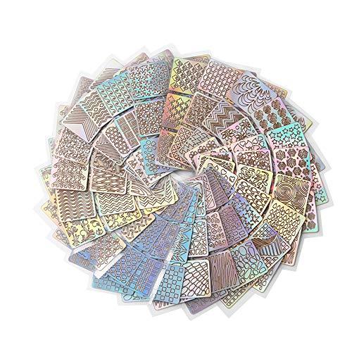 IWILCS 288 Stück DIY Nagellack Schablone, DIY Nagel Aufkleber, Selbstklebend Nageldesign Decals,...