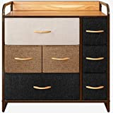 CubiCubi Dresser Organizer with 7 Drawer, Furniture Storage Tower Unit for Bedroom Hallway Entryway Closets, Dresser Clothes Storage with Sturdy Steel Frame Wood Top, Chocolate