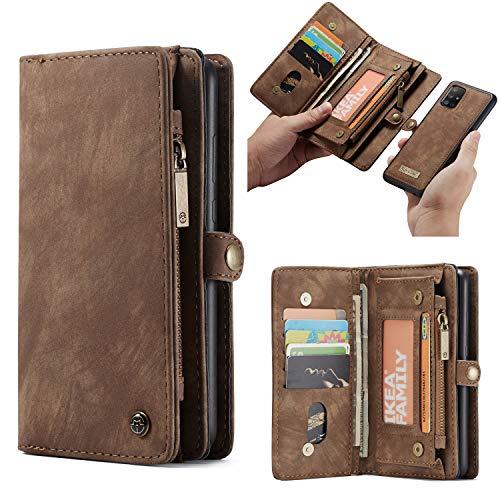 HülleMe Leder Galaxy A51 hülle, magnetisch Flip Folio Lederhülle Wallet Handyhülle für Samsung Galaxy A51 Ständer Cover, 13 x Kreditkarte Slots, 2 in 1 zurück hülle (A51, braun)