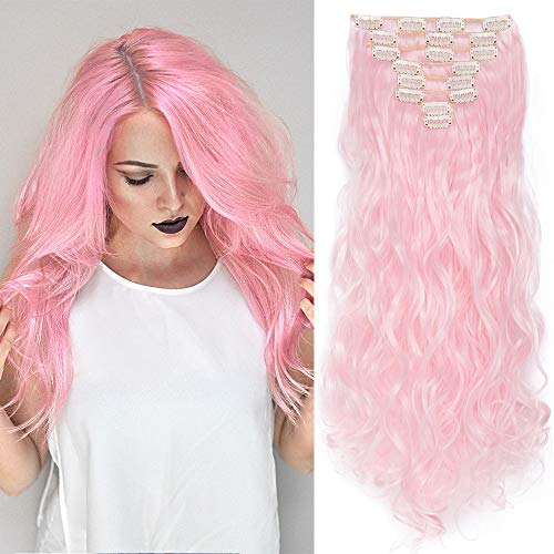 Clip in Extensions Haarverlängerung Haarteil 8 Tresssen wie Echthaar gewellt Hell-Pink 24