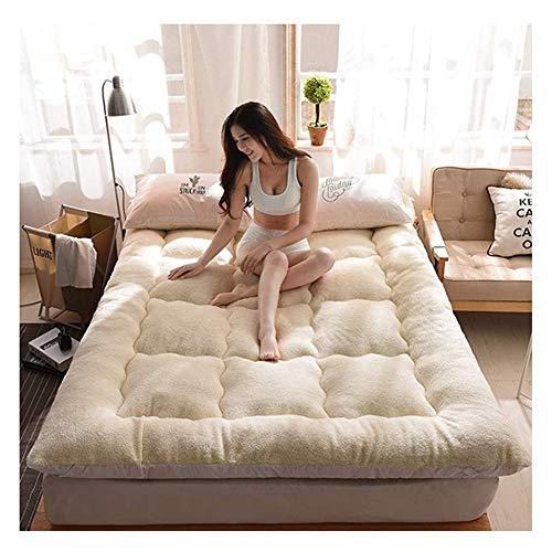 Dik pluche Futon matras topper, winter warm lam niet-slip Tatami vloermat opvouwbare zachte veren fluwelen bed matrassen 135x200cm(53x79