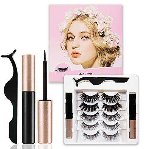 [5 Paare]Magnetische Wimpern, Magnetischer Eyeliner Set,Mit 2 Wurzel Wasserdichtem Gelfreiem Magnetic Eyeliner, Wiederverwendbare 3D magnetwimpern, Natürliches Aussehen mit Pinzette, wasserdicht