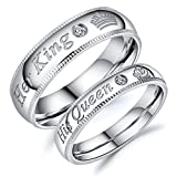Blowin Valentine's Day Gifts Stainless Steel Her King Ring Crown Cubic Zirconia Anniversary Promise Engagement Wedding Band for Men (Her King, Size 8)