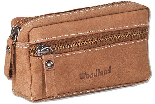 Woodland® - Leder-Schlüsseltasche mit 2 Schlüsselringe aus weichem, naturbelassenem Büffelleder in Cognac, Beige