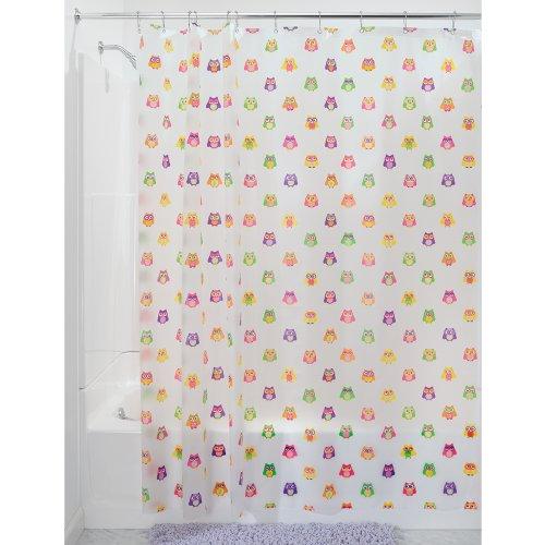 iDesign 30094EU Owlz Duschvorhang, 180 x 200 cm, pink / lila